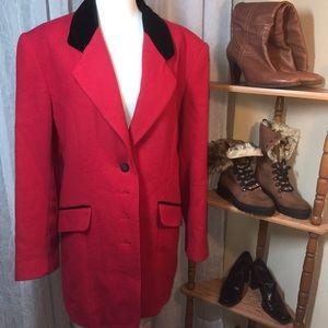 Vintage Russian Wool Red Black Jacket Coat 11 / 12